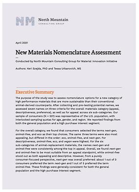 Materials Nomenclature Assessment