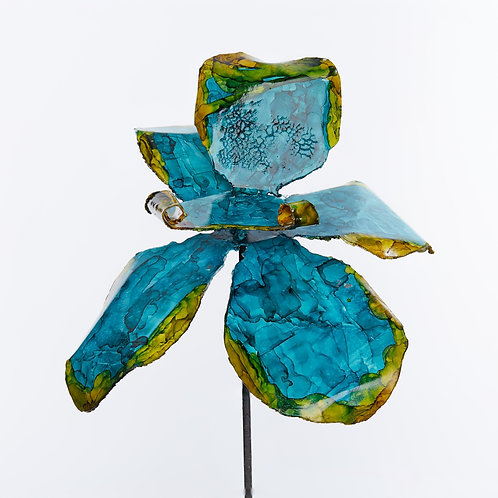 Front View Recycled Steel Teal Yellow Orchid