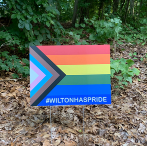 """Vanessa Elias in """"'Symbols Have Meaning'— Wilton Rallies to Show LGBTQ+ Support with Pride Signs"""" (7/19/21 Good Morning Wilton)"""