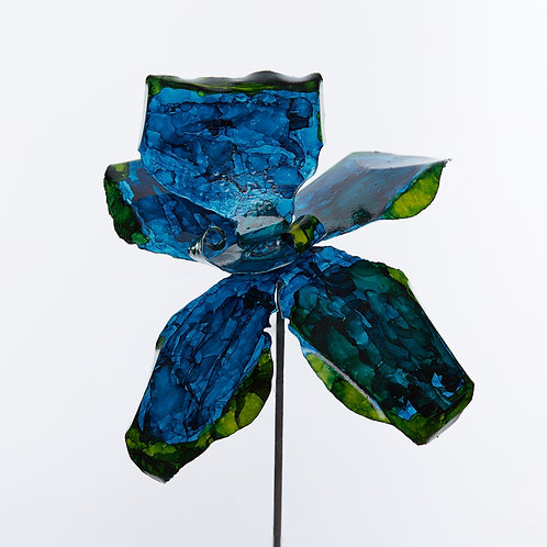 Front View Recycled Steel Blue Green Orchid