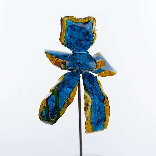 Front View Recycled Steel Blue Yellow Orchid