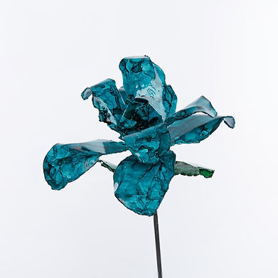 Teal Recycled Steel Rose Close-up