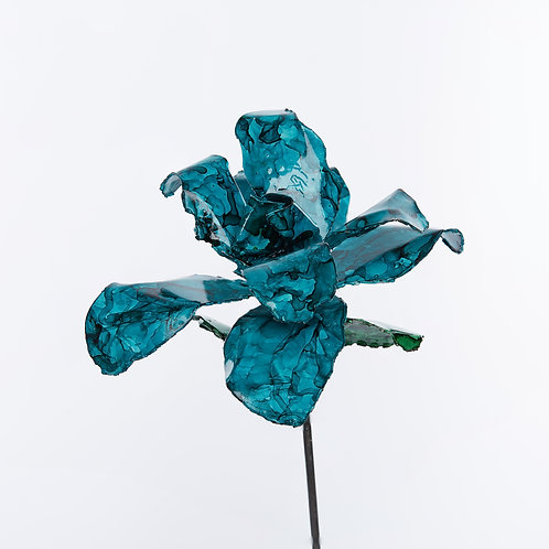 Front View Recycled Steel Teal Rose