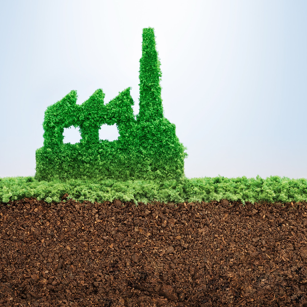 symbol of a factory shown made up of green grass with soil beneath it - Mel Butcher's blog