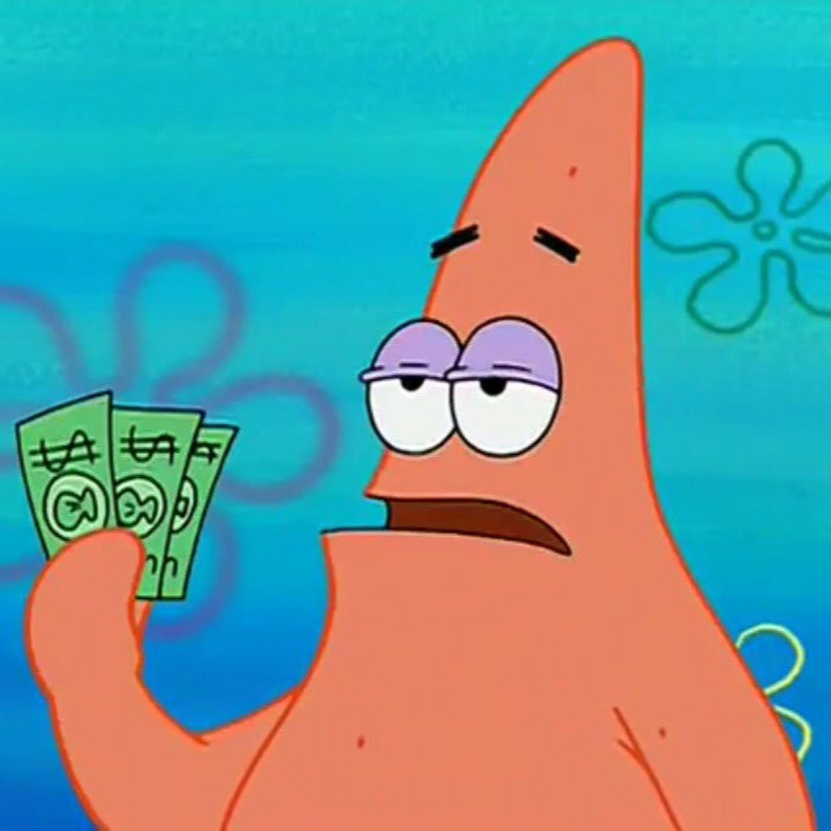 Patrick Star (from Spongebob Squarepants)  holding cash, looking forelorn.