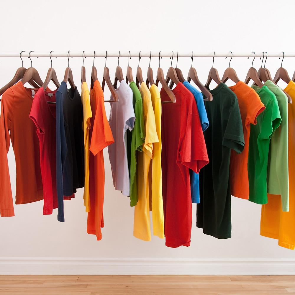 rack of colorful hanging tee-shirts