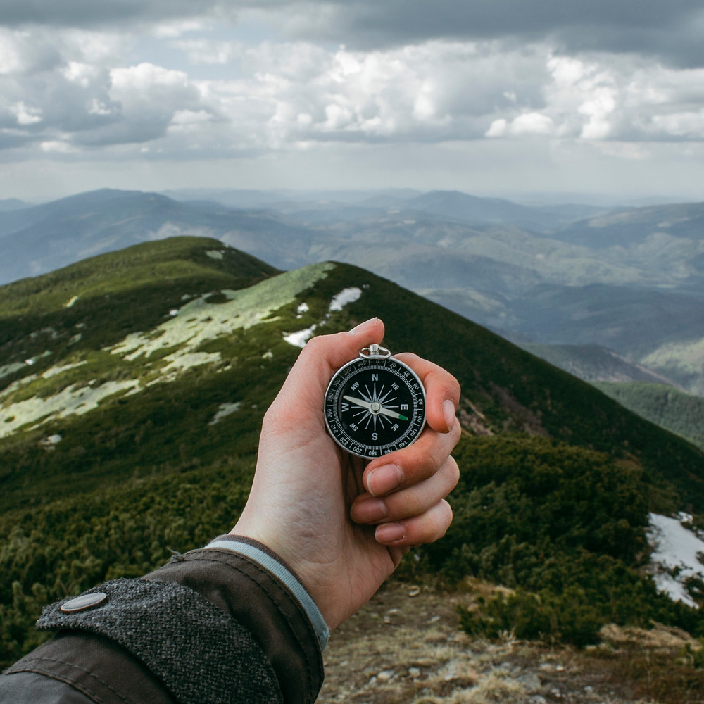 Hand holding compass with greenery and mountain landscape in the distance.