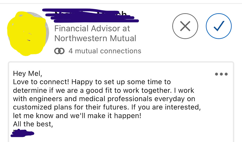 Screen capture of a LinkedIn message from a Northwestern Mutual advisor