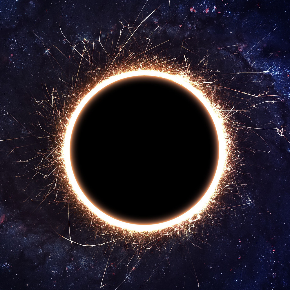 abstract rendering of a black hole in outer space