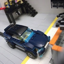 Scene from a car crash test created by LEGOs