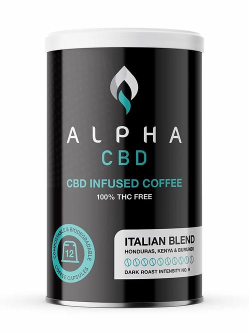 Alpha CBD - 12 Coffee Capsules: Dark (5mg of CBD per Capsule)