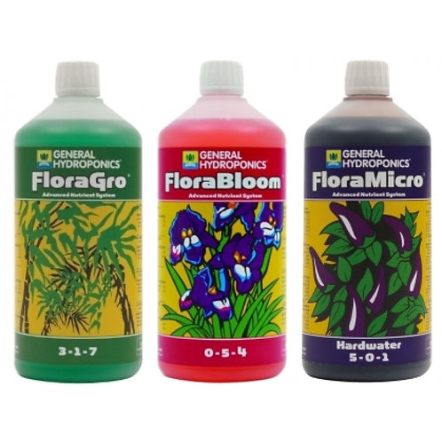 General Hydroponics Flora Series Nutrient Kit (3x 1L) - Hard Water General Hydro