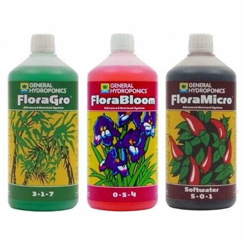 General Hydroponics Flora Series Nutrient Kit (3x 1L) - Soft Water