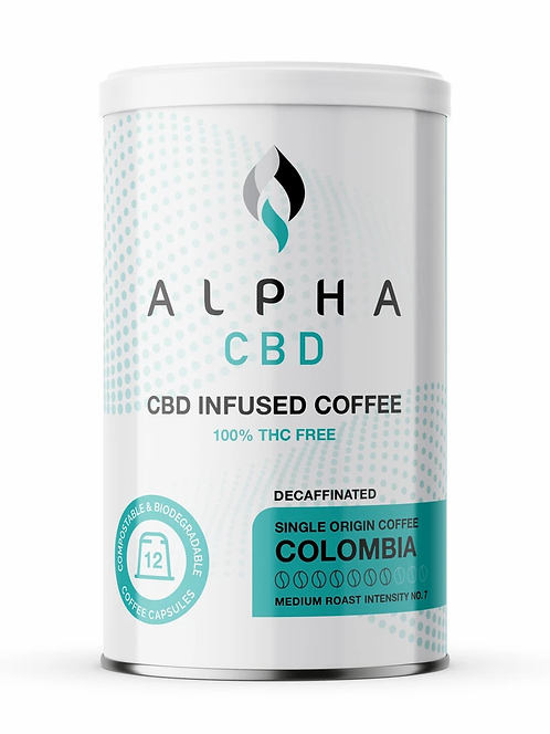 Alpha CBD - 12 Coffee Capsules: Decaf Coffee (5mg CBD per capsule)