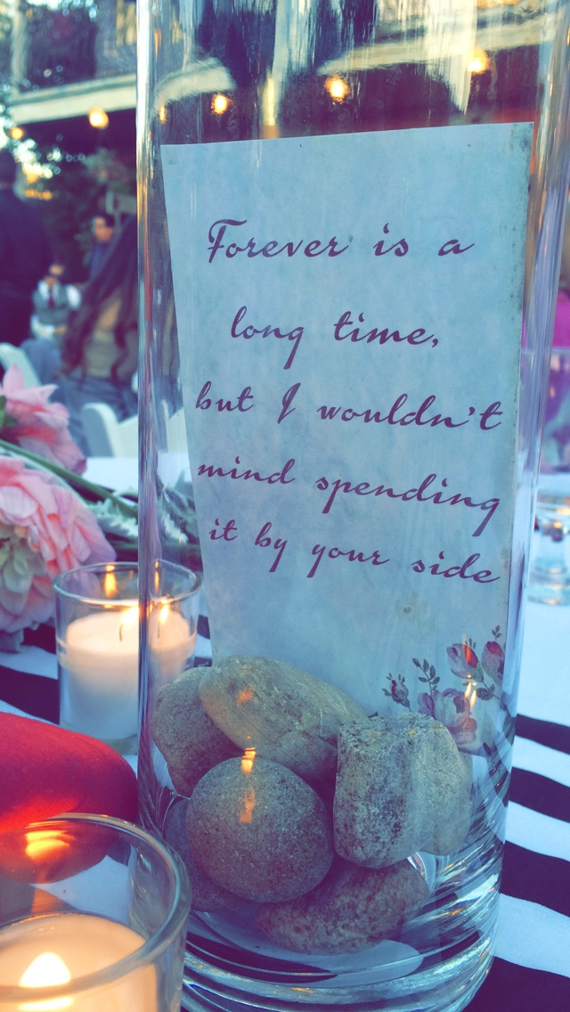 A special quote inside tall vases