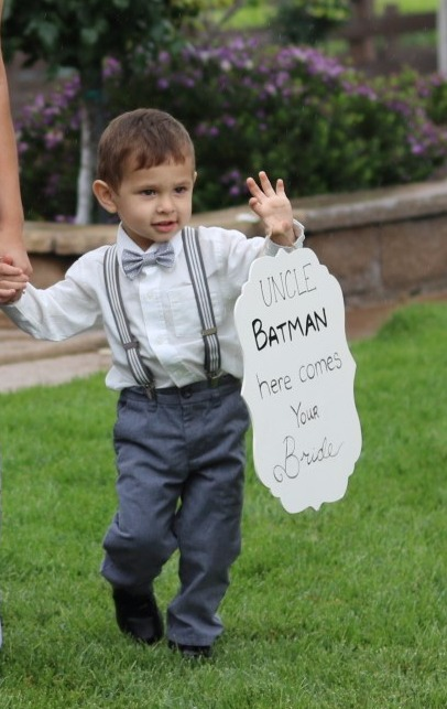 A sign for the ring bearer