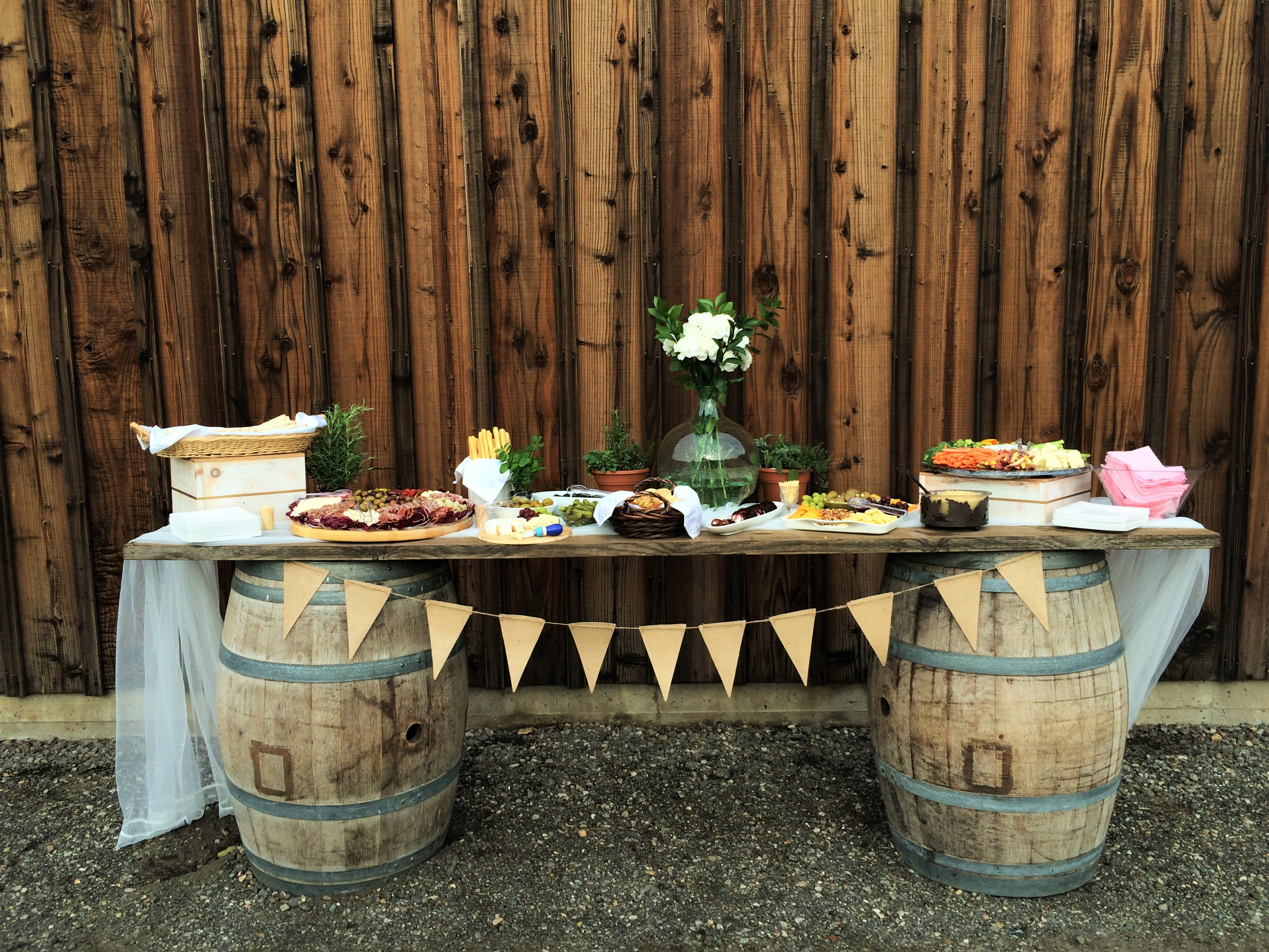 Rustic appetizer table