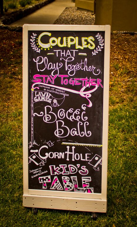 Lawn game chalkboard menu