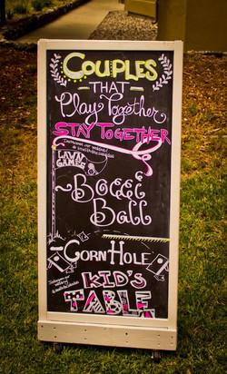 Lawn game chalkboard menu