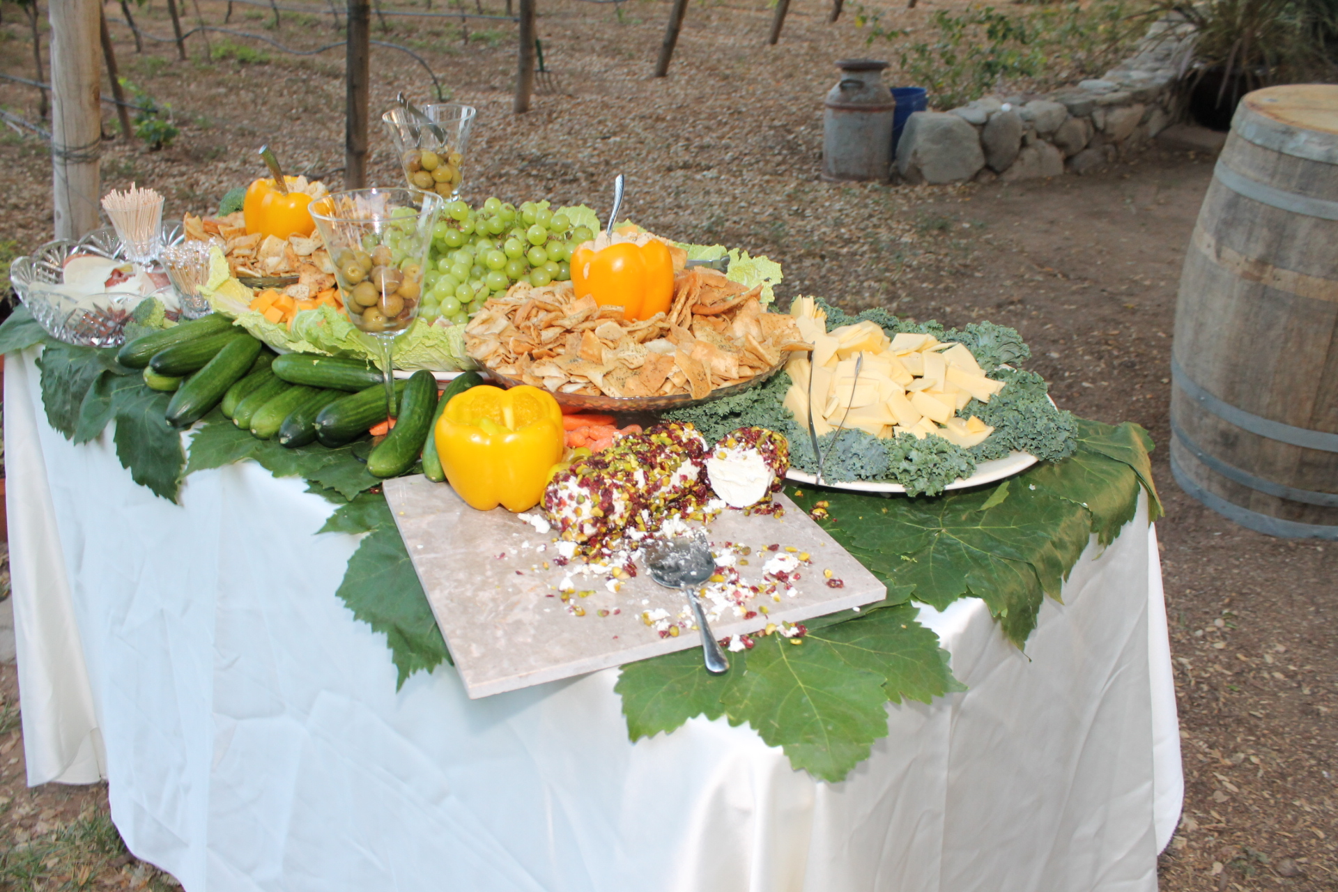 Leaf lined appetizer table