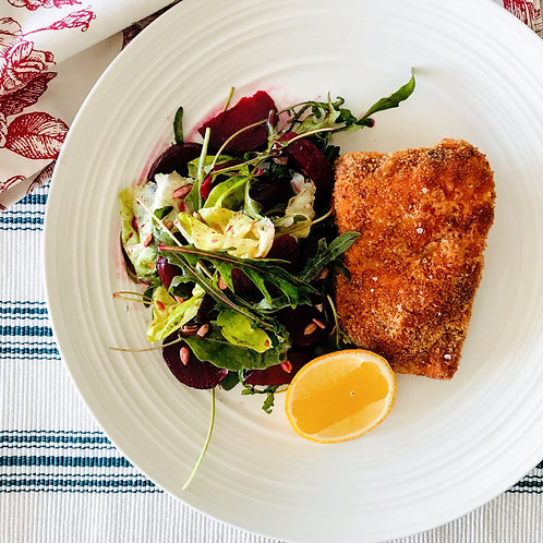 Crispy Red Snapper and Beetroot Salad with Aioli