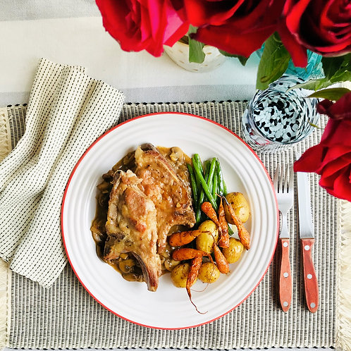 Pork Chops In a Mushroom & Onion Sauce  With Roasted Roasted Root Veggies