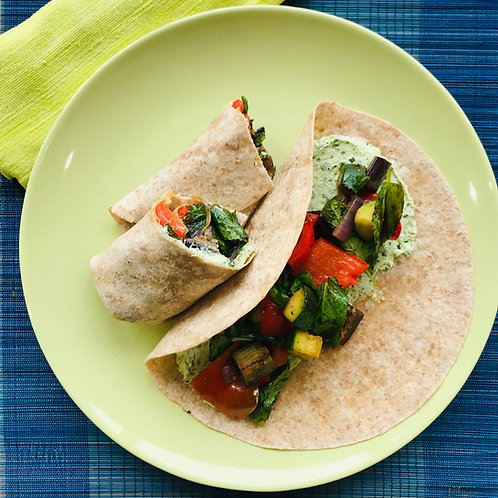 Grilled Veggies and Herb Cream Cheese  Wrap with Zucchini and Squash Chips