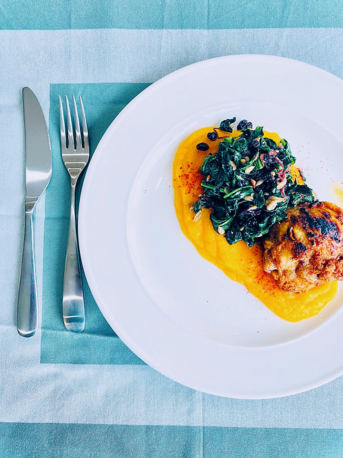 Harissa Chicken and Butternut Puree With warm Spinach and Currants