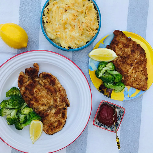 Chicken Schnitzel, Mac and Cheese  With Steamed Broccoli
