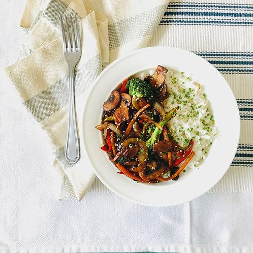 15 Min Tahini and Mushroom Stir Fry