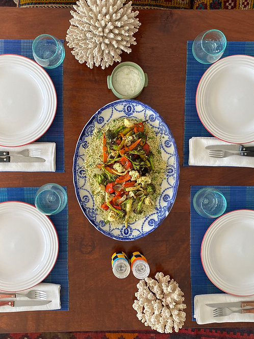Vegan Roasted Vegetable Salad  With Couscous and Lime Coconut Cucumber Sauce