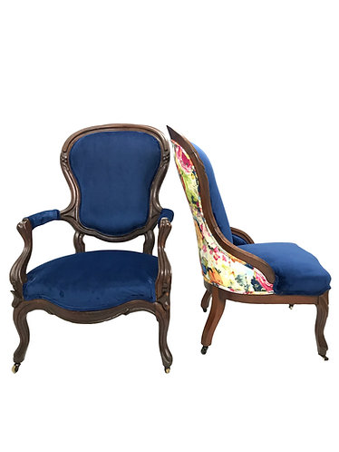 Antique Victorian Ladies and Gentleman Chairs - a Pair