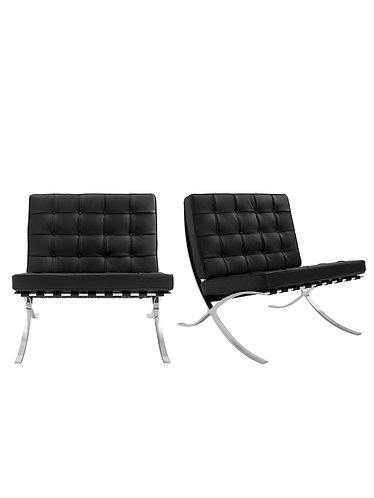 "Pair of Black Leather ""Barcelona"" Style Chairs"