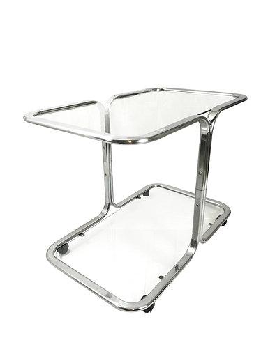 Milo Baughman Style Two-Tier Chrome Bar Cart