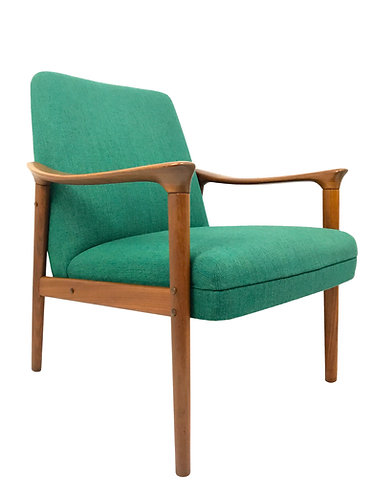 Mid Century Norwegian Teak Lounge Chair by Pi Langlos Fabrikker