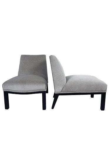 Pair of Edward Wormley Model 5000 Mohair Slipper Chairs for Dunbar
