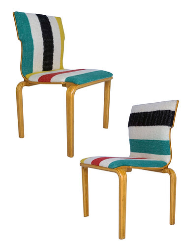 Mid Century Thonet Style Bentwood Interlocking Chairs in Pendleton Blanket