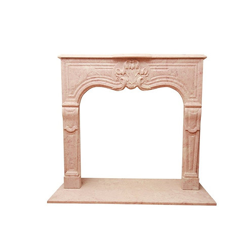 Rose Colored Louis XVI Style Carved Marble Fireplace Mantle