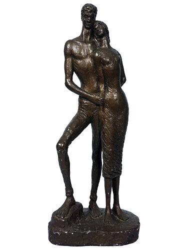 "1965 Bronzed ""Loving Embrace"" Sculpture by E. Schillaci"