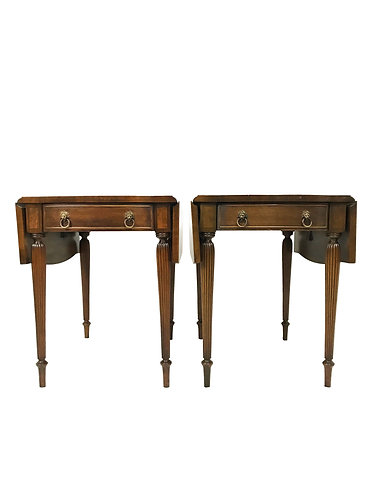 Pair of Hickory Chair Co Serpentine Style Pembroke End Tables