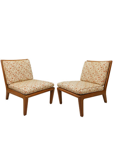 "Pair of Mid Century Edward Wormley Drexel ""Precedent"" Slipper Chairs"