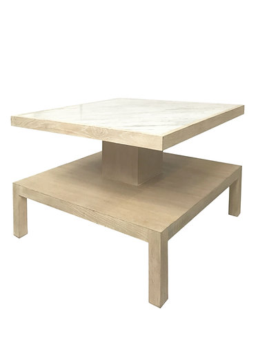 Modern History White Washed Wood, Marble Top Coffee Table