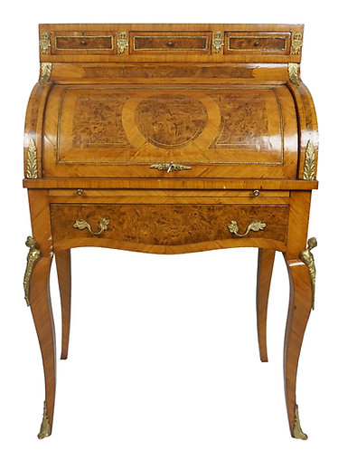 19th Century French Louis XV Marquetry Bureau De Dame