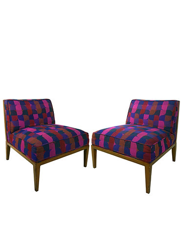 Pair of 1960s Widdicomb Cane Back Slipper Chairs With Jack Larsen Upholstery