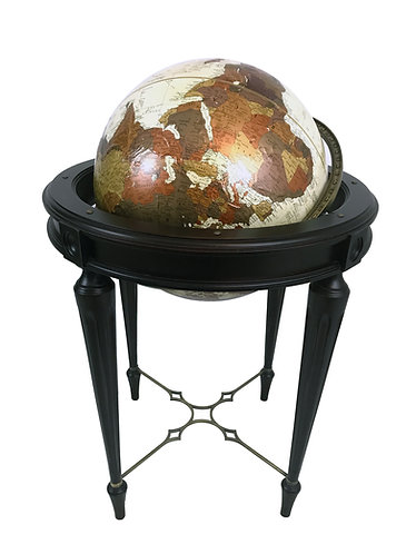 Bombay Company Antique Finish Globe Replogle With Fluted Leg Stand
