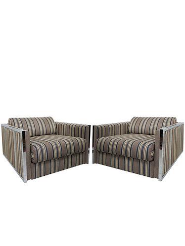 Pair of Mid Century Milo Baughman Chrome Cube Chairs