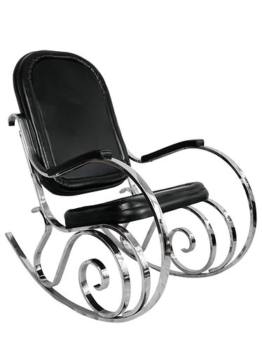 Maison Jansen Flat Bar Chrome Rocking Chair