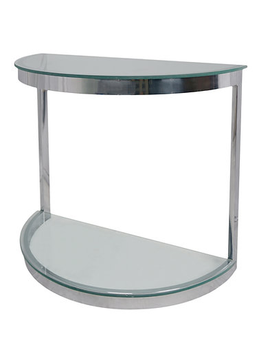 Mid Century Milo Baughman Style Chrome Demilune Console Table
