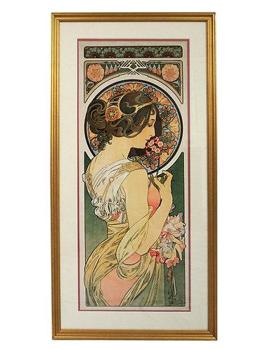 Framed Art Nouveau Alphonse Mucha Primrose Giclee Print