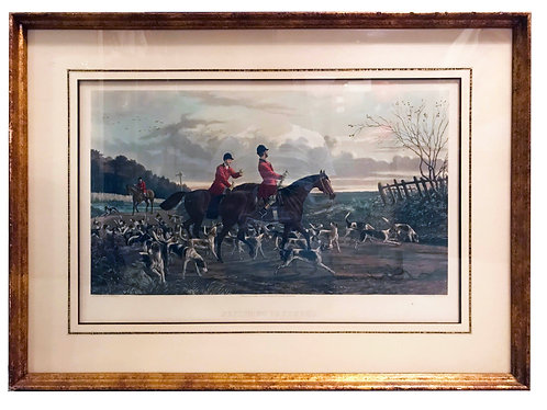 """""""Returning to Kennel"""" Hand Colored Hunting Scene Engraving by Sheldon Williams"""